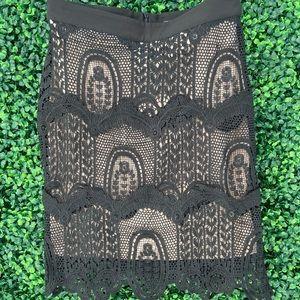NWT Sleek Black Crochet Skirt